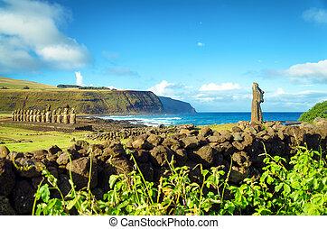 isla de pascua, moai, vista