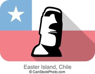isla de pascua, statue., señal, de, el mundo, serie