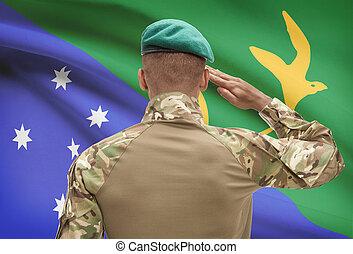 isla, de piel oscura, -, soldado, bandera, plano de fondo, ...