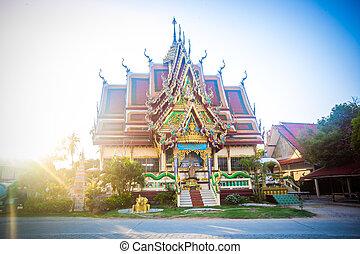 isla de samui, budista, ocaso, tailandia, templo