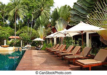 isla de samui, chalet, moderno, lujo, tailandia, piscina, ...