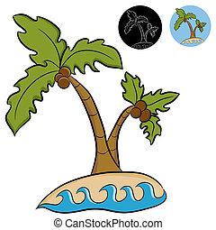 isla desertada, árboles de palma