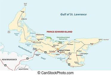 isla, edward, príncipe, mapa de camino