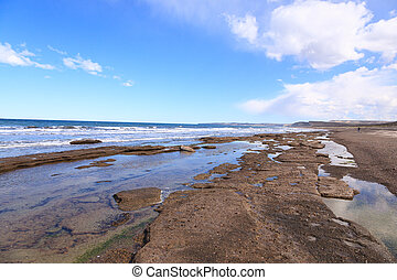 Isla Escondida beach day landscape, Patagonia, Argentina. Chubut province