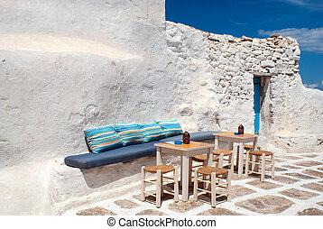 isla, grecia, callejón, tradicional, griego, mykonos
