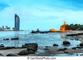 isla, gulangyu, noche, scape
