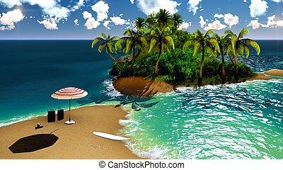 isla, hawai, paraíso
