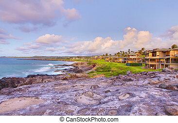 isla, houses., vacaciones, costa, maui, línea, acantilado