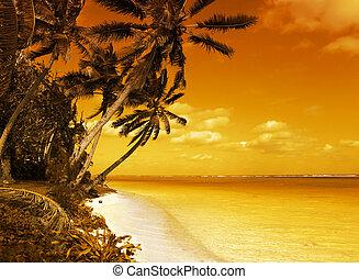 isla, laguna, ocaso