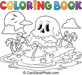 isla, libro colorear, cráneo, pirata