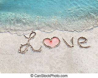 "isla, ""love"", tropical, arena, inscripción, maldives."