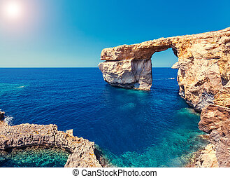isla, malta, ventana, lugar, ubicación, gozo, azur, dwejra...