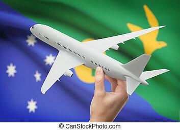 isla, -, mano, bandera, plano de fondo, avión, navidad