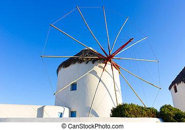 isla, molino de viento, grecia, mykonos