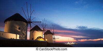 isla, molinos de viento, (greece), mykonos