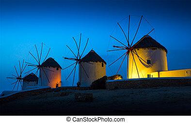isla, molinos, ocaso, griego