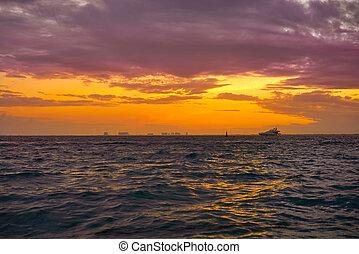 Isla Mujeres island Caribbean beach sunset of Riviera Maya...