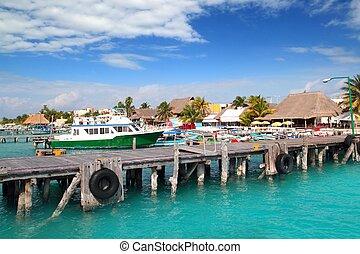 Isla Mujeres island dock port pier colorful Mexico