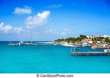 Isla Mujeres island near Cancun Caribbean sea of Riviera...