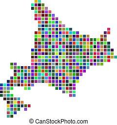 isla, multicolor, hokkaido, punto, mapa
