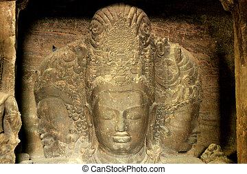 isla, mumbai, dios, roca, -, elephanta, escultura, india