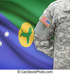 isla, -, norteamericano, soldado, bandera, plano de fondo, ...
