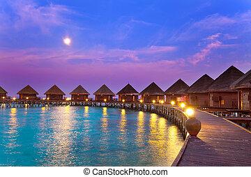 isla, océano, maldives., noche