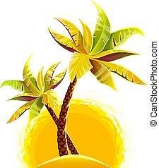 isla, palma de coco, arena, árboles