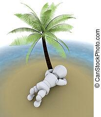 isla, palma, hombre, árbol, debajo