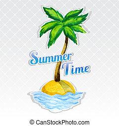 isla, palma, vocación, árbol, plano de fondo