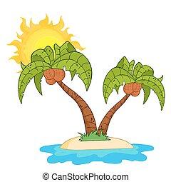 isla, palmera, dos, caricatura
