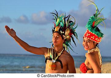 isla, pareja, bailarines, joven, pacífico, tahitiano,...