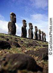 isla, pascua, chile, moai-