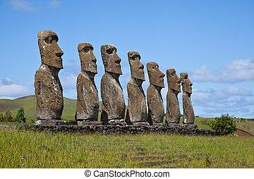 isla, pascua, estatuas