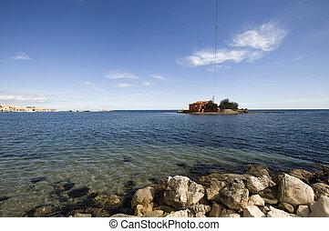 isla pequeña, en, marzamemi, siracusa