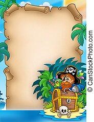 isla, pergamino, pirata
