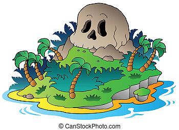 isla, pirata, cráneo