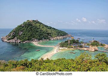 isla, playa,  nangyuan, Tailandia