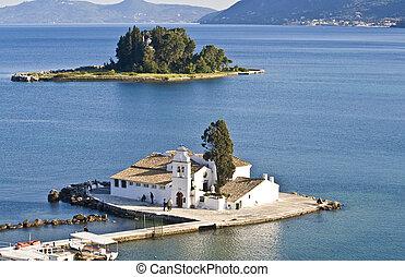 isla, pontikonisi, grecia, área, corfu
