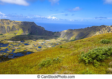 isla, rano, cráter, kau, volcán, pascua