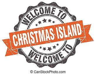 isla, redondo, navidad, cinta, sello