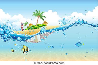 isla, submarino
