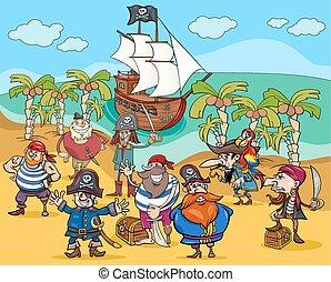 isla, tesoro, caricatura, piratas