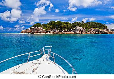 isla tropical, barco