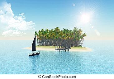 isla tropical, embarcadero, 3d