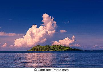 isla tropical, en, ocaso
