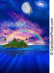 isla tropical, flotar