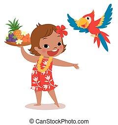 isla tropical, niña, loro