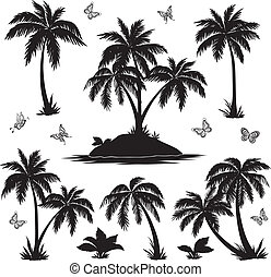 isla tropical, palmas, y, mariposas, siluetas