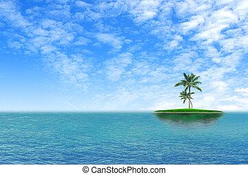 isla, tropical, solamente, verde